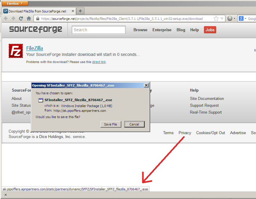 Spyware Installer on Sourceforge